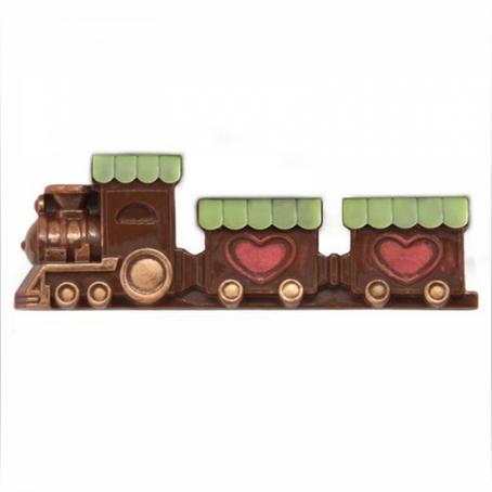 oryginalny i praktyczny prezent dla dziecka POCIĄG PAROWY PŁASKORZEŻBA z czekolady